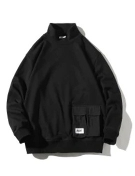 Hot Sale Letter Print Flap Pocket Solid Color Casual Sweatshirt   Black M by Zaful