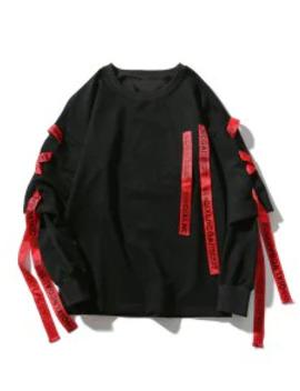 Popular Sale Letter Print Ribbon Faux Twinset Drop Shoulder Sweatshirt   Black Xl by Zaful