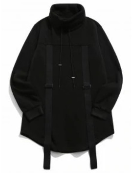 Popular Sale Turtleneck Fleece Drawstring Gothic Sweatshirt   Black 2xl by Zaful