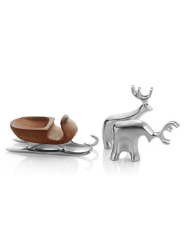 Holiday Miniature Sleigh With Reindeer by Nambe