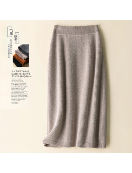 2019 Pure Wool Skirt New Women's Autumn And Winter Long Paragraph A Word Skirt Bag Hip Skirt Thick Wool Skirt Knit Skirt by Ali Express.Com