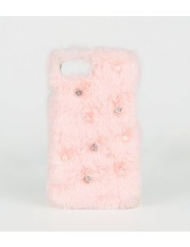 Pink Diamanté Faux Fur Case For I Phone 6/7/8 by New Look