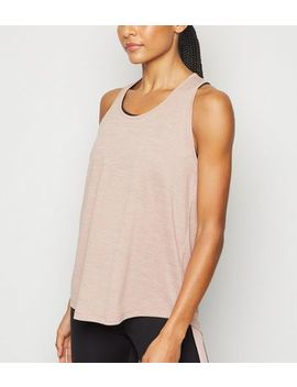 Pale Pink Marl Racerback Sports Vest by New Look