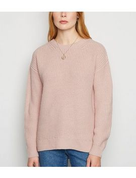 Pale Pink Lattice Back Jumper by New Look