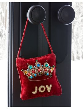 """Joy""Red Velvet Door Knocker by Sudha Pennathur"
