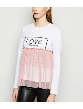 Cameo Rose Pink Love Slogan Peplum Top by New Look