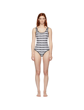 Black & White Logo Print One Piece Swimsuit by Balmain