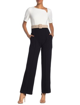 Belted Two Tone Jumpsuit by Donna Morgan