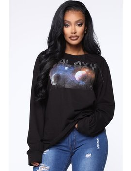 In Another Galaxy Long Sleeve Top   Black by Fashion Nova