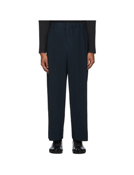 Navy Pleated Trousers by Homme PlissÉ Issey Miyake