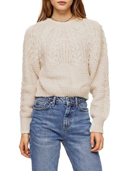 Cable Knit Crop Sweater by Topshop