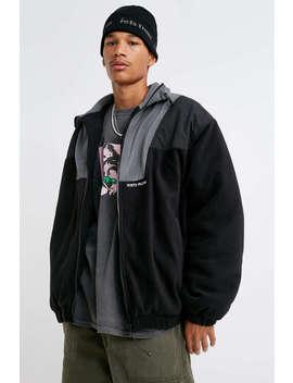 Iets Frans… Black Fleece Zip Front Jacket by Iets Frans...