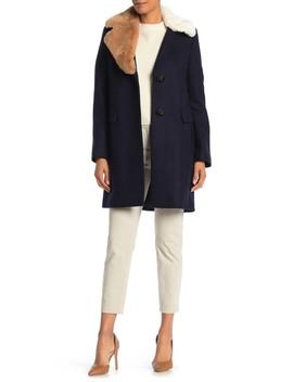 Asymmetrical Faux Fur Trim Wool Blend Coat by Sam Edelman