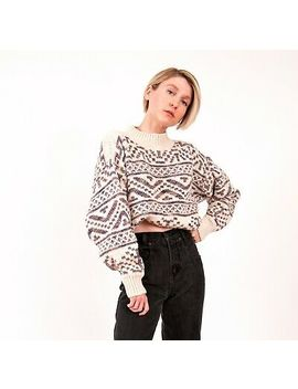 Vintage 80s Mock Neck Southwestern Cropped Geo Print Chunky Knit Sweater Small by Vintage