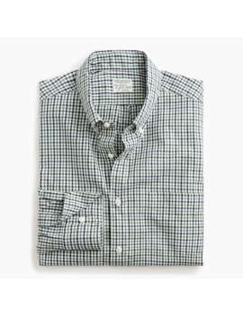 Stretch Secret Wash Shirt In Gingham Organic Cotton by J.Crew
