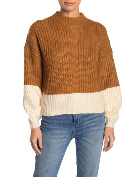 Colorblock Mock Neck Sweater by Elodie