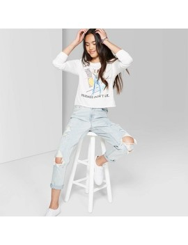 Women's High Rise Distressed Mom Jeans   Wild Fable™ Light Wash by Wild Fable