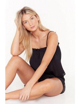 Let's Skip Today Satin Pajama Shorts Set by Nasty Gal