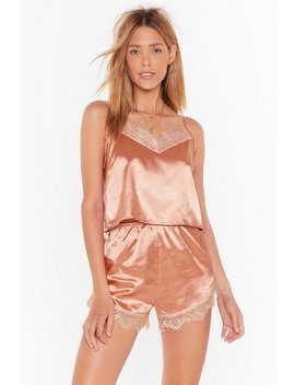 Lace You To Bed Satin Pajama Shorts Set by Nasty Gal