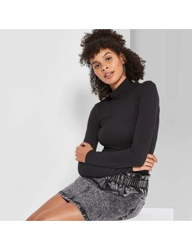 Women's Long Sleeve Mock Turtleneck Bodysuit   Wild Fable™ Black by Wild Fable