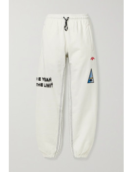 Appliquéd Printed Cotton Jersey Track Pants by Adidas Originals By Alexander Wang