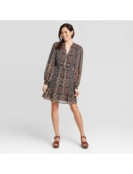 Women's Paisley Mixed Print Long Sleeve V Neck Woven Dress   Knox Rose™ Black by Knox Rose