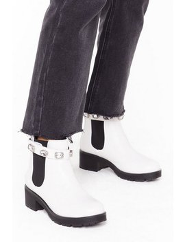 Blingin' You Home Faux Leather Embellished Boots by Nasty Gal
