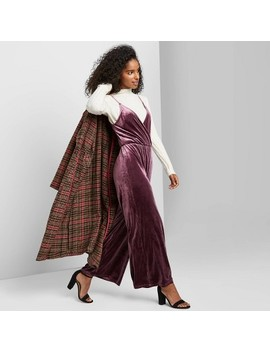 Women's Sleeveless V Neck Velvet Wrap Jumpsuit   Wild Fable™ Plum by Wild Fable