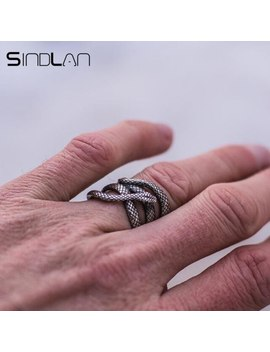 Sindlan Exaggerated Vintage Silver Snake Ring For Men Cool Fashion Punk Male Finger Ring 17mm To 21mm Man Animal Charm Ring by Ali Express