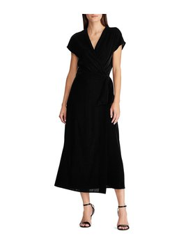 Short Sleeve Velvet Midi Wrap Dress by Lauren Ralph Lauren