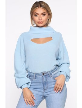 Cut It Out Turtle Neck Sweater   Blue by Fashion Nova