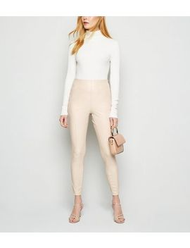 Cream Coated Leather Look Leggings by New Look