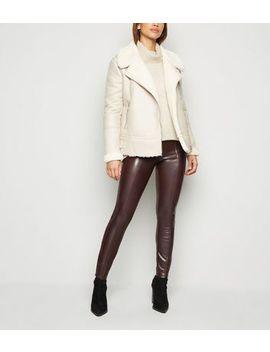 Brown Coated Leather Look Leggings by New Look