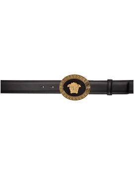 Black & Gold Oval Medallion Belt by Versace