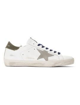 White & Khaki Superstar Sneakers by Golden Goose