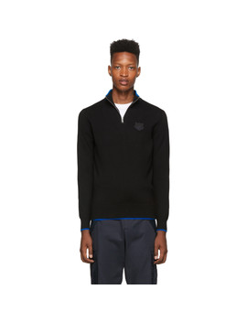 Black Wool Tiger Crest Half Zip Jumper Sweater by Kenzo