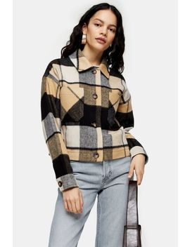 Cropped Check Jacket With Wool by Topshop