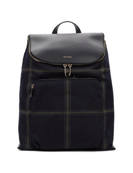 Navy Check Bucket Backpack by Paul Smith