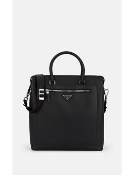 Leather Travel Tote Bag by Prada