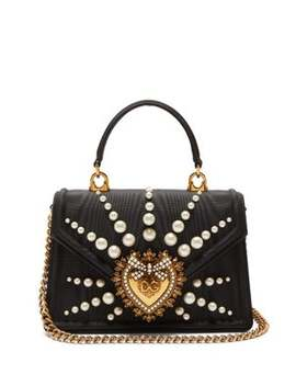 Devotion Faux Pearl Embellished Moire Bag by Dolce & Gabbana