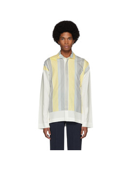White & Yellow Stripe Press Shirt by Homme PlissÉ Issey Miyake