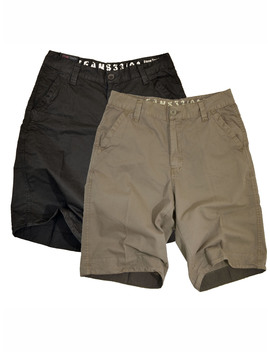 Stone Touch Mens Chino Shorts Black + Khaki, 2 Pc Pack, 5 F Kx2 30 by Stone Touch