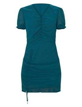 Emerald Green Ruched Detail Bodycon Dress by Prettylittlething