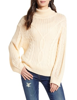 Open Knit Chunky Turtleneck Sweater by All In Favor