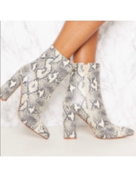 Pretty Little Thing Snakeskin Booties by Pretty Little Thing