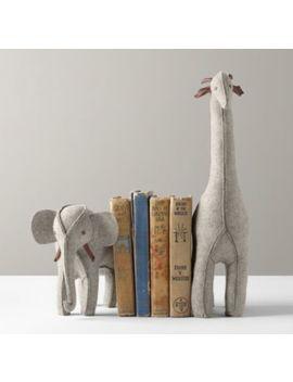 Wool Felt Animal Bookend   Grey Elephant & Giraffe by Restoration Hardware Baby And Child