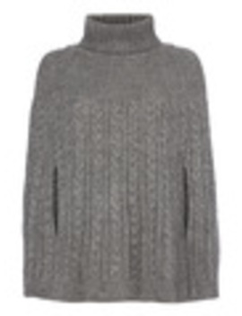 Grey Roll Neck Cable Knit Cape by Tu