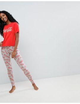 asos-coca-cola-acid-wash-tee-&-legging-pajama-set by asos-collection