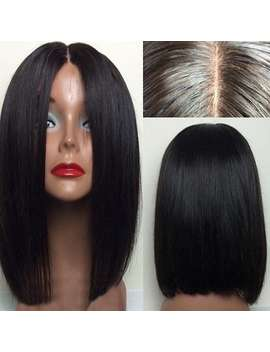 Middle Part Straight Short Bob Lace Front Human Hair Wig by Dress Lily