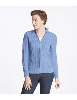 double-l-mixed-cable-sweater,-zip-front-cardigan by llbean